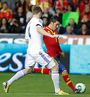 Spain's David Villa (r) and Finland's Toivio during international match of the qualifiers for the FIFA World Cup Brazil 2014.March 22,2013.(ALTERPHOTOS/Victor Blanco)