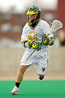 10 April 2007: University of Vermont Catamounts' Shay Cunningham, a Junior from Southborough, MA, in action against the Holy Cross Crusaders at Moulton Winder Field, in Burlington, Vermont. The Crusaders rallied to defeat the Catamounts 5-4...Mandatory Photo Credit: Ed Wolfstein Photo