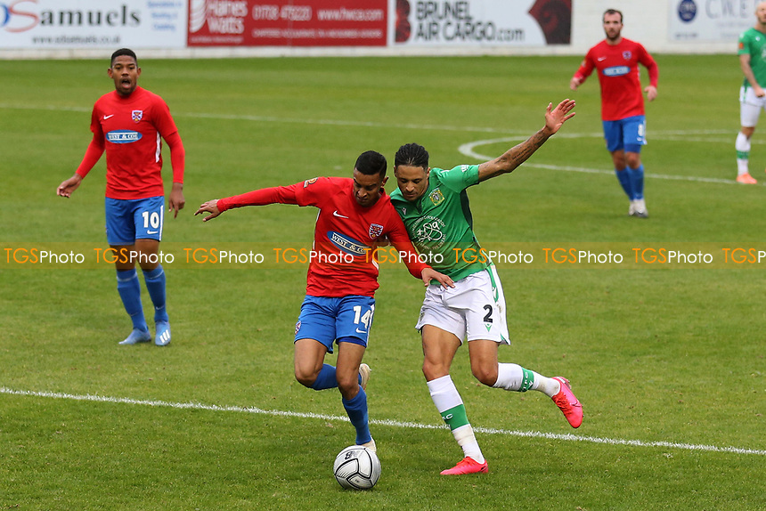 George Saunders of Dagenham and Redbridge and Daniel Leadbitter of Yeovil Town during Dagenham & Redbridge vs Yeovil Town, Vanarama National League Football at the Chigwell Construction Stadium on 17th October 2020