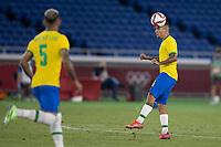 22nd July 2021; Stadium Yokohama, Yokohama, Japan; Tokyo 2020 Olympic Games, Brazil versus Germany; Guilherme Arana of Brazil heads the ball across to Douglas Muiz