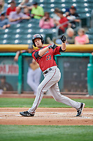 Austin Slater (13) of the Sacramento River Cats bats against the Salt Lake Bees at Smith's Ballpark on May 17, 2018 in Salt Lake City, Utah. Salt Lake defeated Sacramento 12-11. (Stephen Smith/Four Seam Images)