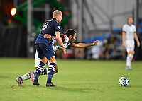 LAKE BUENA VISTA, FL - AUGUST 01: Jeremy Ebobisse #17 of the Portland Timbers is fouled by Alexander Ring #8 of New York City FC during a game between Portland Timbers and New York City FC at ESPN Wide World of Sports on August 01, 2020 in Lake Buena Vista, Florida.