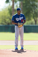 Los Angeles Dodgers starting pitcher Guillermo Zuniga (29) gets ready to deliver a pitch during an Instructional League game against the Oakland Athletics at Camelback Ranch on September 27, 2018 in Glendale, Arizona. (Zachary Lucy/Four Seam Images)