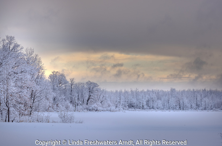 A snow-covered wilderness lake after a snowstorm in northern Wisconsin.