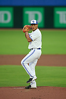Dunedin Blue Jays pitcher Rafael Ohashi (18) during a game against the Clearwater Threshers on June 18, 2021 at TD Ballpark in Dunedin, Florida.  (Mike Janes/Four Seam Images)