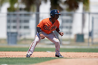 Baltimore Orioles Markel Jones (95) leads off first base during a minor league Spring Training game against the Tampa Bay Rays on March 29, 2017 at the Buck O'Neil Baseball Complex in Sarasota, Florida.  (Mike Janes/Four Seam Images)