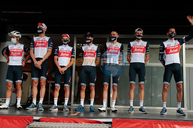 Trek-Segafredo team at sign on before Stage 3 of the Route d'Occitanie 2020, running 163.5km from Saint-Gaudens to Col de Beyrède, France. 3rd August 2020. <br /> Picture: Colin Flockton | Cyclefile<br /> <br /> All photos usage must carry mandatory copyright credit (© Cyclefile | Colin Flockton)