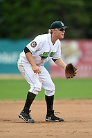 Jamestown Jammers third baseman Chase Simpson (16) during a game against the Mahoning Valley Scrappers on June 16, 2014 at Russell Diethrick Park in Jamestown, New York.  Mahoning Valley defeated Jamestown 2-1.  (Mike Janes/Four Seam Images)