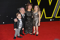 Actor Warwick Davis with his family during the STAR WARS: 'The Force Awakens' EUROPEAN PREMIERE at Odeon, Empire & Vue Cinemas, Leicester Square, England on 16 December 2015. Photo by David Horn / PRiME Media Images