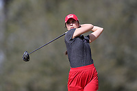WALLACE, NC - MARCH 09: Katerina Doleckova of Boston University tees off on the 15th hole of the River Course at River Landing Country Club on March 09, 2020 in Wallace, North Carolina.