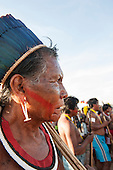 Cacique Kryt Kayapo looks angry during a demonstration in Brasilia, Brazil by the Xicrin, Kayapo and Pataxo tribes, 10th November 2015. Photo © Sue Cunningham, pictures@scphotographic.com