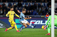 Football, Serie A: S.S. Lazio - Hellas Verona, Olympic stadium, Rome, February 5, 2020. <br /> Lazio's Ciro Immobile (c) in action with Hellas Verona's captain Miguel Veloso (l) and goalkeeper Marco Silvestri (r) during the Italian Serie A football match between S.S. Lazio and Hellas Verona at Rome's Olympic stadium, Rome, on February 5, 2020. <br /> UPDATE IMAGES PRESS/Isabella Bonotto