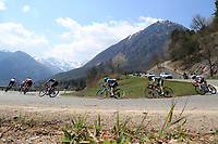 23rd April 2021; Cycling Tour des Alpes Stage 5, Valle del Chiese to Riva del Garda, Italy;  The peloton on a downhill