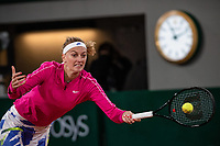 28th September 2020, Roland Garros, Paris, France; French Open tennis, Roland Garros 2020;  Petra KVITOVA CZE plays a forehand during her match against Oceane DODIN FRA