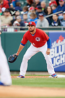 Buffalo Bisons first baseman Rowdy Tellez (34) during a game against the Scranton/Wilkes-Barre RailRiders on May 18, 2018 at Coca-Cola Field in Buffalo, New York.  Buffalo defeated Scranton/Wilkes-Barre 5-1.  (Mike Janes/Four Seam Images)
