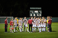 STANFORD, CA - September 12, 2012: Stanford vs San Jose St. men's soccer match in Stanford, California. Final score, Stanford 2, San Jose St. 1 in overtime.