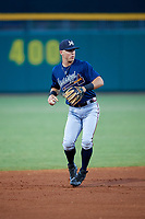 Mississippi Braves shortstop Dylan Moore (8) during a game against the Montgomery Biscuits on April 24, 2017 at Montgomery Riverwalk Stadium in Montgomery, Alabama.  Montgomery defeated Mississippi 3-2.  (Mike Janes/Four Seam Images)