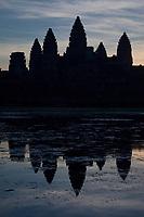Cambodia, Angkor Wat Before Sunrise.
