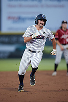 Aaron Palensky (10) of the Somerset Patriots hustles towards third base against the Altoona Curve at TD Bank Ballpark on July 24, 2021, in Somerset NJ. (Brian Westerholt/Four Seam Images)