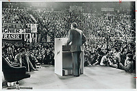 1976 FILE PHOTO - ARCHIVES -<br /> <br /> Stanfield - with a warning - bids farewell as leader. About 2;400 Progressive Conservatives gave out-going leader Robert Stanfield their undivided attention at Ottawa Civic Centre last night when he warned them not to ignore Quebec; not to drive the party to the right and not to polarize the country. Despite his harshlyworded farewell he received a standing ovation from people who'll be called on to replace him tomorrow. Before departing; Stanfield suggested that any party member failing to support new leader be drummed out.<br /> <br /> PHOTO : Reg INNELL - Toronto Star Archives - AQP