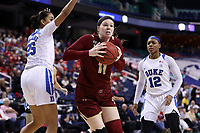 GREENSBORO, NC - MARCH 06: Emma Guy #11 of Boston College moves past Jade Williams #25 of Duke University during a game between Boston College and Duke at Greensboro Coliseum on March 06, 2020 in Greensboro, North Carolina.