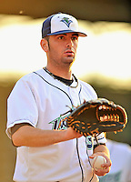 3 September 2008: Vermont Lake Monsters' pitcher Pat McCoy warms up prior to a NY Penn-League game against the Tri-City Valley Cats at Centennial Field in Burlington, Vermont. The Lake Monsters defeated the Valley Cats 6-5 in extra innings. Mandatory Photo Credit: Ed Wolfstein Photo