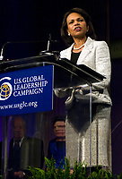 Secretary of State Condoleezza Rice speaks during the U.S. Global Leadership Campaign Tribute Dinner held in honor of Secretary of Defense Robert M. Gates in Washington, D.C., July 15, 2008. The campaign is a nationwide coalition of businesses, non-governmental organizations and community leaders that advocates for a strong U.S. international affairs budget. DoD photo by Cherie Cullen. (Released)
