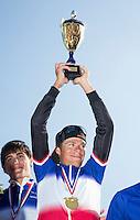 16 SEP 2012 - NICE, FRA - David Hauss celebrates the Les Sables Vendee Triathlon team winning the men's French Grand Prix series (PHOTO (C) 2012 NIGEL FARROW)