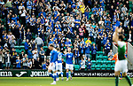 Hibs v St Johnstone…22.09.21  Easter Road.    SPFL<br />Saints fans applaud the team as ther make their wayu onto the pitch<br />Picture by Graeme Hart.<br />Copyright Perthshire Picture Agency<br />Tel: 01738 623350  Mobile: 07990 594431