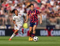 EAST HARTFORD, CT - JULY 5: Kelley O'Hara #5 of the USWNT dribbles the ball during a game between Mexico and USWNT at Rentschler Field on July 5, 2021 in East Hartford, Connecticut.