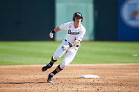 Chris Lanzilli (24) of the Wake Forest Demon Deacons rounds second base during the game against the Furman Paladins at BB&T BallPark on March 2, 2019 in Charlotte, North Carolina. The Demon Deacons defeated the Paladins 13-7. (Brian Westerholt/Four Seam Images)