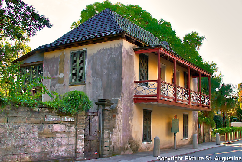 Fernandez-Llambias House<br /> <br /> This house was already in extant in 1763 when Spain ceded Florida to Great Britian. It was then a one story, two room shingle roofed coquina stone structure owned by Pedro Fernandez. A British owner added the loggia.<br /> In 1784 when the Spanish returned the Minorcan settlers brought to Florida by the British stayed. Their descendants too remained in 1821, when Florida became American. Two Minorcan brothers Joseph and Peter Antonio Manucy owned the house in 1838, adding the second story and the balcony. Dona Catalina Llambias whose name the structure bears, bought it in 1854 and she and her family owned it for 65 years. Information quoted from Hitorical Marker in front of house.