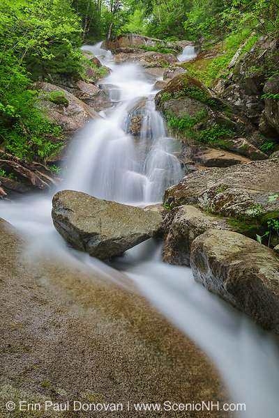 Swiftwater Falls on Dry Brook in Lincoln, New Hampshire USA during the spring months. This waterfall is located in Franconia Notch, and the Falling Waters Trail passes by it.