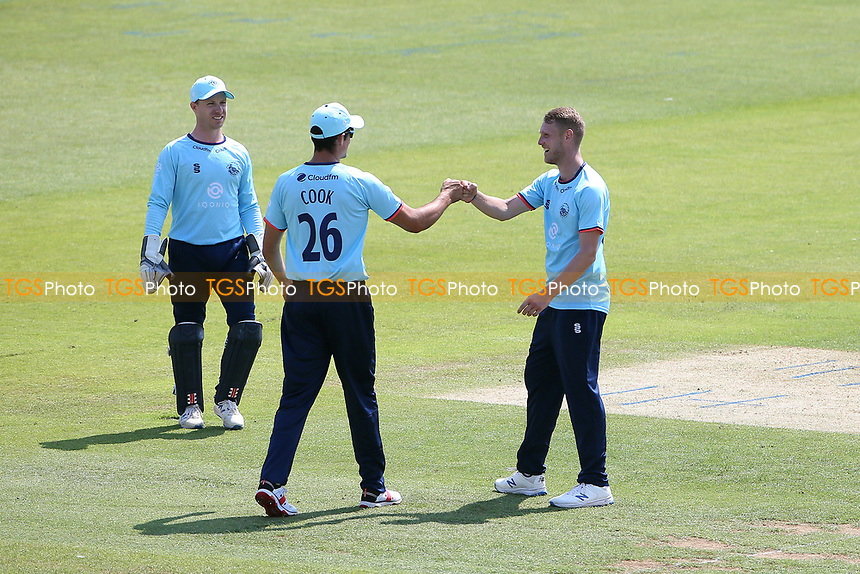 Jamie Porter of Essex celebrates with his team mates after taking the wicket of Felix Organ during Hampshire Hawks vs Essex Eagles, Royal London One-Day Cup Cricket at The Ageas Bowl on 22nd July 2021