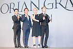 """Choi Jae-Woong, Park Eun-Tae, Hong Seo-Young and Jun-Su (JYJ), Jul 11, 2016 : (L-R) South Korean musical actors and actress Choi Jae-Woong, Park Eun-Tae and Hong Seo-Young pose with XIA (Junsu) during a news conference promoting their new musical """"Dorian Gray"""" in Seoul, South Korea. The musical is based on Oscar Wilde's novel """"The Picture of Dorian Gray"""" and Junsu will play the lead role Dorian Gray. The creative musical will be opened at Seongnam Arts Center's Opera House in South Korea on September 3, 2016. (Photo by Lee Jae- Won/AFLO) (SOUTH KOREA)"""