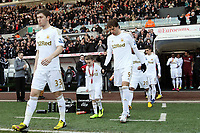 Saturday 2nd March 2013<br /> Pictured: (L-R) Ben Davies, Michu, Pablo Hernandez.<br /> Re: Barclays Premier Leaguel, Swansea  v Newcastle at the Liberty Stadium in Swansea.