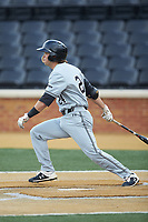 Matt Frey (24) of the Davidson Wildcats follows through on his swing against the Wake Forest Demon Deacons at David F. Couch Ballpark on May 7, 2019 in  Winston-Salem, North Carolina. The Demon Deacons defeated the Wildcats 11-8. (Brian Westerholt/Four Seam Images)