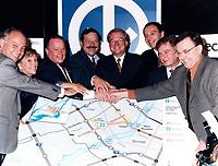 October 8 1998 File Photo - guy chevrette, bernaRD LANDRY, jacques brassard, Gilles Vaillancourt , joseph facal, serge menard,  annonce the extension of Montreal subway to Laval