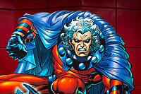 Magneto illustration at Marvel Superheroes Island, in Universal Studios Florida theme park, Orlando, USA