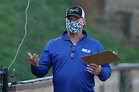 Head coach Tim Wallace of the Spartanburg Methodist College Pioneers wears a face covering in a fall workout on Pro Day on Thursday, October 1, 2020, at Mooneyham Field in Spartanburg, South Carolina. (Tom Priddy/Four Seam Images)