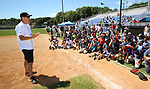 WATERBURY, CT, CT - 21 JULY - 072118JW04.jpg -- Former Detroit Tigers pitcher John Doherty talks with kids about developing good habits and skills for baseball and life Saturday morning at Municipal Stadium during the Family & Children's Aid and the MLB Alumni Association baseball clinic series for kids ages 6-16. Jonathan Wilcox Republican-American