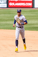 Burlington Bees outfielder Jordyn Adams (2) runs in from the outfield between innings during a Midwest League game against the Wisconsin Timber Rattlers on April 28, 2019 at Fox Cities Stadium in Appleton, Wisconsin. Wisconsin defeated Burlington 5-4. (Brad Krause/Four Seam Images)