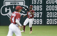 Arkansas outfielder Christian Franklin (25) catches, Saturday, June 5, 2021 during the sixth inning in the second game of the NCAA Fayetteville Regional at Baum-Walker Stadium in Fayetteville. Check out nwaonline.com/210606Daily/ for today's photo gallery. <br /> (NWA Democrat-Gazette/Charlie Kaijo)