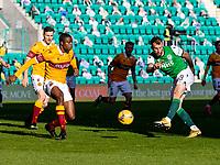 24th April 2021; Easter Road, Edinburgh, Scotland; Scottish Cup fourth round, Hibernian versus Motherwell; Christian Doidge of Hibernian takes a shot at goal