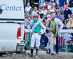 July 17, 2021: Mandaloun, #3, ridden by jockey Florent Geroux are declared the winners of the Grade 1 Haskell Invitational after the unofficial winner Hot Rod Charlie, #4 ridden by jockey Flavien Prat are disqualified and placed last after interference in the stretch at Monmouth Park Racecourse in Oceanport, New Jersey on July 17, 2021. Scott Serio/Eclipse Sportswire/CSM