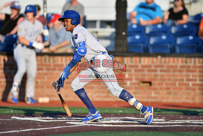 Burlington Royals Maikel Garcia (2) runs to first base during game one of the Appalachian League Championship Series against the Johnson City Cardinals at TVA Credit Union Ballpark on September 2, 2019 in Johnson City, Tennessee. The Royals defeated the Cardinals 9-2 to take the series lead 1-0. (Tony Farlow/Four Seam Images)
