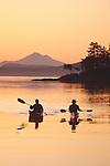 Sea Kayaking, San Juan Islands, Sea kayakers paddle into sunrise off D'Arcy Island, British Columbia, Canada, In the distance: San Juan Islands, Mount Baker, Washington State, Pacific Northwest, USA,.