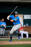 Akron RubberDucks second baseman Mark Mathias (12) at bat during a game against the Harrisburg Senators on August 18, 2018 at FNB Field in Harrisburg, Pennsylvania.  Akron defeated Harrisburg 5-1.  (Mike Janes/Four Seam Images)