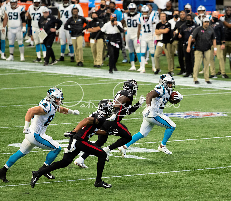 Photography of The Carolina Panthers v. The Atlanta Falcons,Sunday afternoon October 11, 2020 at Mercedes-Benz Stadium in Atlanta, GA.<br /> <br /> Charlotte Photographer - PatrickSchneiderPhoto.com