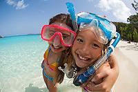 Kids with snorkel gear at the beach<br /> Trunk Bay, St. John<br /> Virgin Islands National Park